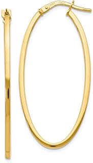14k Yellow Gold Polished Oval Hoop Earrings