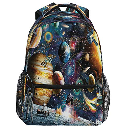 Mochila Oarencol Cosmic Walk Astronaut Universo Space Planets Galaxy Star Bookbag Daypack Viaje Senderismo Camping Escuela Bolsa Portátil