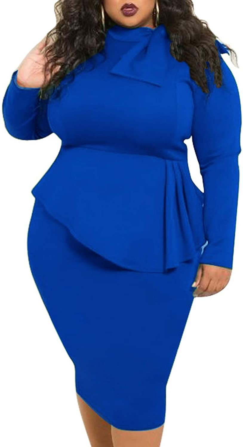 Lexiart Plus Size Dresses for Women - Stretchy Bodycon Plus Size Peplum Dress with Bowknot