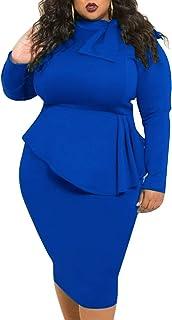 فستان lexiart مقاس إضافي للنساء - فساتين بيبلوم مثيرة فضفاضة قابلة للتمدد مقاس إضافي مع فيونكة