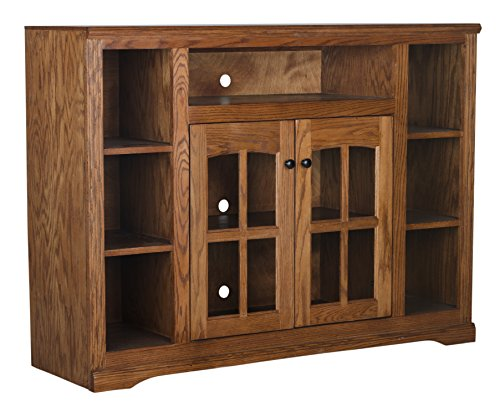 Eagle Oak Ridge Tall Bookcase Entertainment Console, 55' Wide, Medium Oak Finish