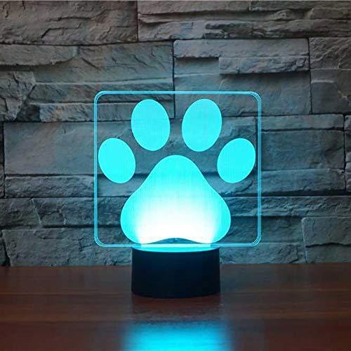 Lámpara de mesa 3D animal pata de perro LED múltiples colores lindo perro huella luz nocturna USB dormitorio decoración regalo
