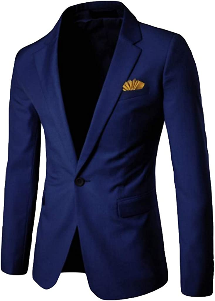 Baiggooswt Men's Blazer Coat Men's Lapel Stylish Casual Solid One Button Blazer Business Wedding Party Coat Jacket