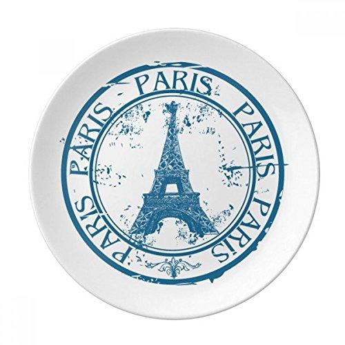 DIYthinker Paris France Tour Eiffel Pays Classique Ville décorative Porcelaine Dessert Plate 8 Pouces Dîner Accueil Cadeau 21cm diamètre Multicolor