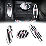 GTINTHEBOX Union Jack Flag at Auto Aluminum Pedal Cover, Anti-Slip Pedals No Drill Gas Brake Pedal and Footrest Pedal Pad for Mini Cooper Countryman, Clubman, Roadster, Hatch, Paceman, 2010-2018