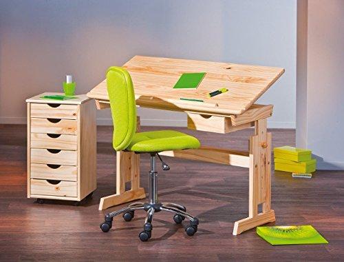 Interlink Kinderschreibtisch Set Julia + Rollcontainer Nils + Stuhl Mali grün