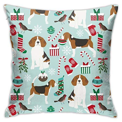 87569dwdsdwd Beagle Christmas Cute Dogs Christmas Best Beagles Cute Christmas Beagle Square Pillow Case Home Sofa Decorative 18' X 18'Inch Ultra Soft Comfortable
