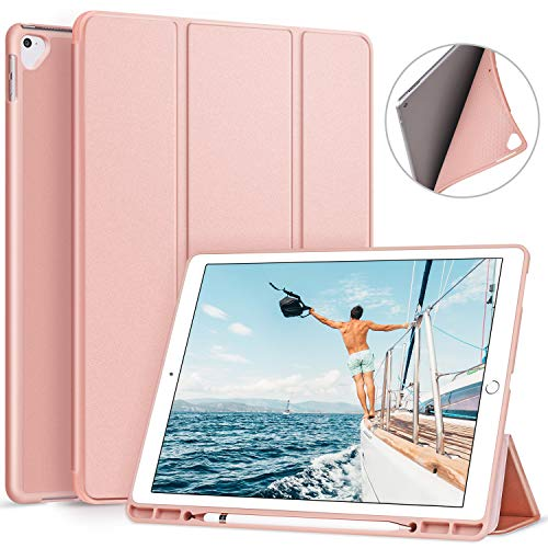 Ztotop Case for iPad Pro 12.9 Inch 2017/2015 with Pencil Holder- Lightweight Soft TPU Back Cover and Trifold Stand with Auto Sleep/Wake, Protective for iPad Pro 12.9 Inch(1St & 2ND Gen), Rose Gold