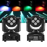 Lámpara Mover Cabeza 8 LED 15 Colores RGBW, 8x 10W Led de Discoteca Luz de Fiesta Con control de voz para KTV Navidad Fiesta Boda Discoteca DJ