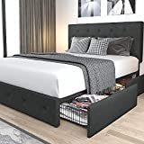 Allewie Queen Platform Bed Frame with 4 Storage Drawers and Headboard, Diamond Stitched Button Tufted Upholstered Design, Mattress Foundation with Wooden Slats Support, No Box Spring Needed, Grey