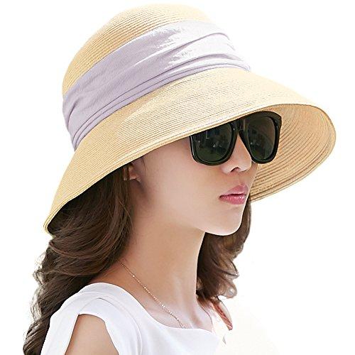 SIGGI beiger klappbarer Sonnenhut Sommerhut Sun Shade Hut Sonnenschutz mit für Frauen mit breite Krempe