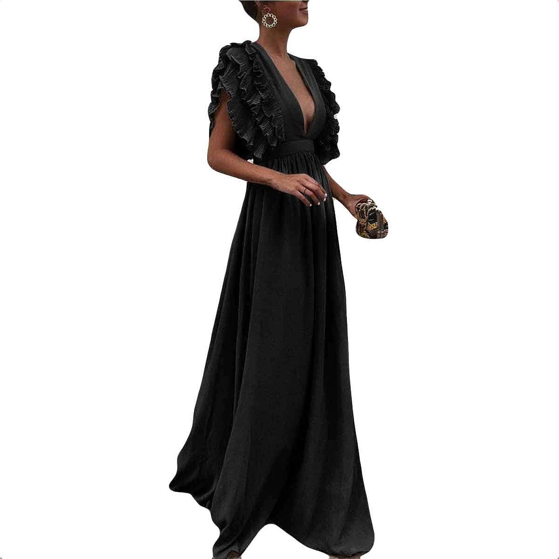 Dcsanhdocnio Womens Ruffles Deep V Neck Sleeveless Swing Pleated Wedding Evening Maxi Dress