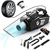 uleete Car Vacuum, 2 in 1 Portable Car Vacuum Cleaner with Air Compressor Pump, DC 12V Tire Inflator for Cars, High Power Handheld Car Vacuum with LED Light, Wet/Dry Vacuum for Cars, 14.8FT Cord