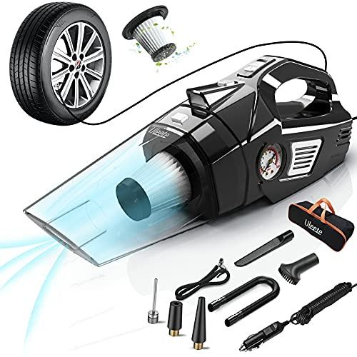 Uleete Car Vacuum, 4 in 1 Best Portable Car Vacuum Cleaner with Air Compressor Pump, DC 12V Tire...