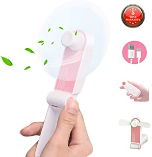 ANUOEXGO Mini Handheld Fan, Personal Portable Cooling Fan Foldable Desktop Table Electric Fan USB Rechargeable Air Conditioning Fan Strong Wind Adjustable 2 Speeds Pocket Size Gift for Office