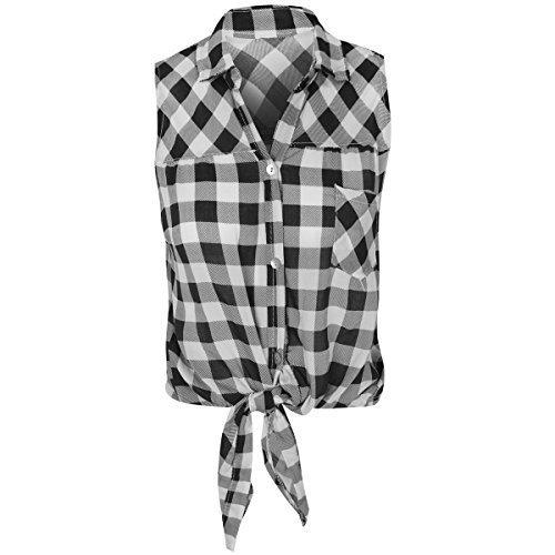 3f86213d5eadea Fashion Thirsty Womens Ladies Check Shirt Lumberjack Sleeveless Knot Tie  Crop Top Blouse Size