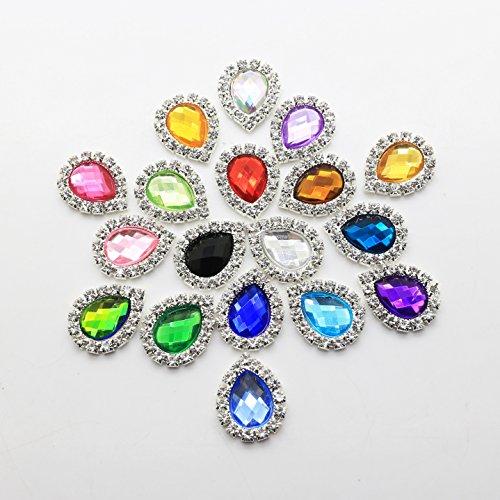50 pcs 17 x 21 mm en forme de goutte d'eau en acrylique Décoration strass Bouton Flateback DIY Accessoires Mix 18 couleurs