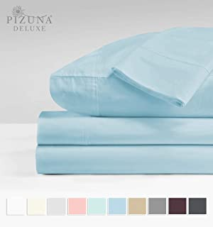 Pizuna Soft 600 Thread Count Blue Cotton King Sheets, 100% Long Staple Cotton Smooth & Crisp Sateen Best Sheets King Deep Pockets fit Upto 15 inch (Blue King 100% Cotton Sheets)