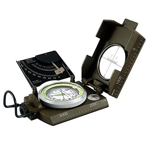 ANBIT Armée professionnelle Visée Compass Clinometer Vert Couleur Camping Et Randonnée Géologie et autres activités en Imperméable Vert militaire multifonction