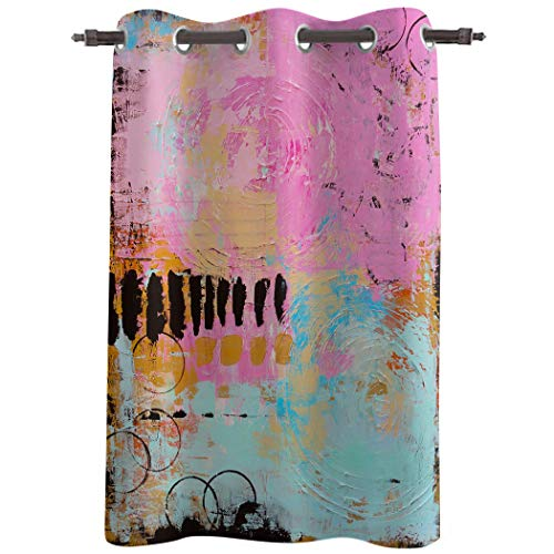 Really Blackout Curtains with Grommet Window Treatments Drapries, Oil Painting Style Sunlight Darkening Panels for Bedroom/Living Room 52''W x 52''L, Graffiti Art Texture