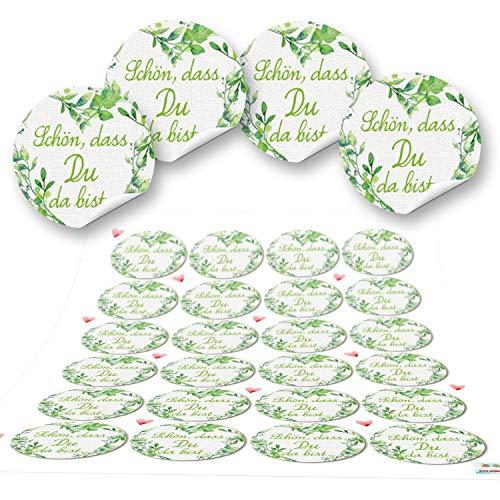Logbuch-Verlag 48 Aufkleber rund grün hellgrün weiß SCHÖN DASS DU DA BIST 4 cm Geschenkaufkleber Etiketten Sticker Hochzeit Taufe Geburtstag Gastgeschenk give-away Deko
