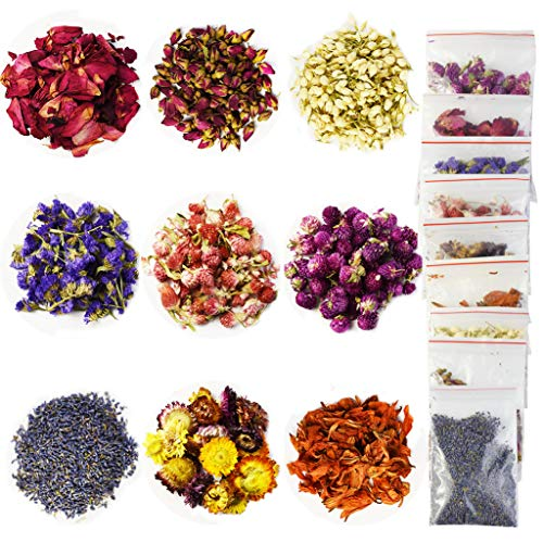 9 Bags Dried Flowers (10g/Bag) Natural Flower Soap Making Scents Candle Making Kits Include Dried Lavender Rose Petals Jasmine Flower Lily Gomphrena Globosa Linn Chrysanthemum for Cake Decorations