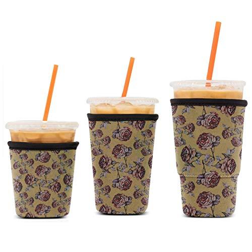 WILSLAT Wiederverwendbare, isolierte Neopren-Hüllen für Eiskaffee, Getränkehalter für kalte Getränke, für Starbucks Kaffee, McDonalds, Dunkin Donuts, Tim Hortons und mehr, 3 Stück
