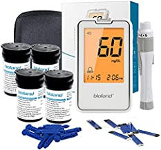 Diabetes Testing Kit, Bioland Glucose Monitor,100 Blood Test Strips, 1 Lancing Device,100 Lancets and 1 Carrying Case,(No Coding,LCD Lights Display)