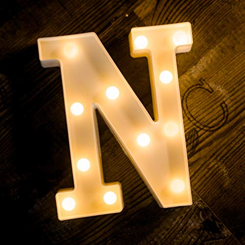 Foaky LED Letter Lights Sign Light Up Letters Sign for Night Light Wedding/Birthday Party Battery Powered Christmas Lamp Home Bar Decoration(N)