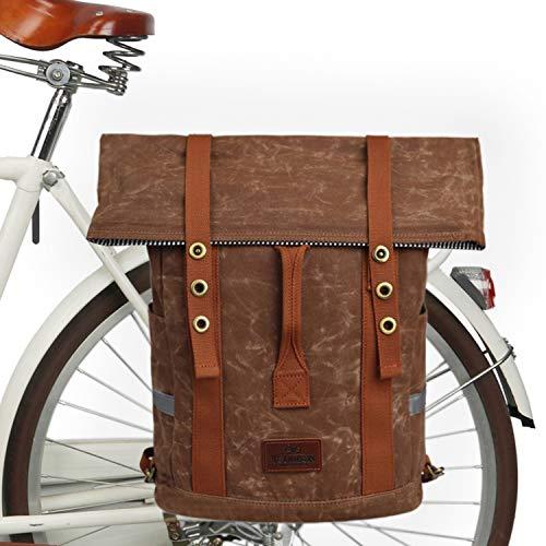 TOURBON Fahrradrucksack Vintage Canvas Fahrradrucksack Frauen Wandern Daypacks - Khaki