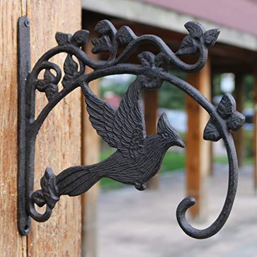 WRZHL Clásico Retro nostálgico Patio de Hierro Fundido pájaro artesanía Colgante Cesta Colgante Gancho de la Pared Wall Hanging