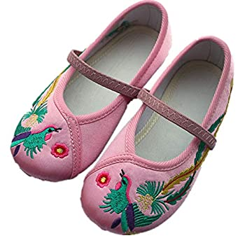 Hooyi Baby Girl Dance Shoe Ballet Sport Shoes Beijing Cloth Shoe Chinese Traditional Embroidery  12 Pink