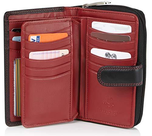 Visconti ® Portafoglio Donna Vera Pelle con protezione RFID Porta Carte di Credito con Portamonete Borsellino Portafogli Porta Banconote - COLORADO (nero/rosso (blk/red)