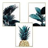 LucaSng Premium Poster 3er-Set, Palmblatt Blätter Papagei