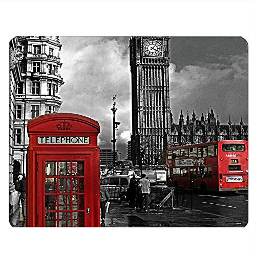 Nicokee Telephone Box Gaming Mousepad British London Red Telephone Box Big Ben Pattern Mouse Pad Mouse Mat for Computer Desk Laptop Office 9.5 X 7.9 Inch Non-Slip Rubber