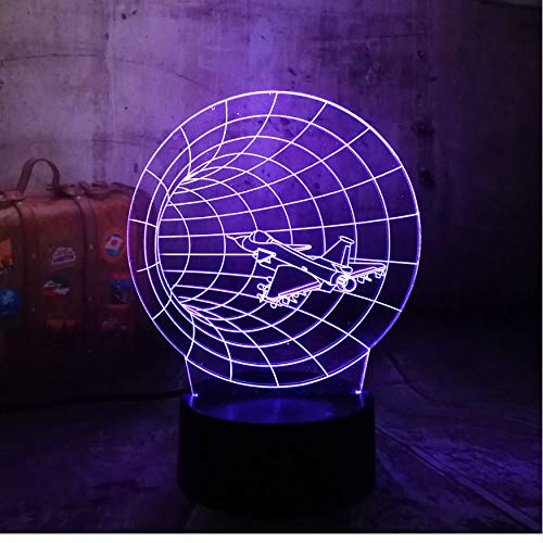 3D Veilleuses Incroyable Time Machine 3D 7 Changement De Couleur Nuit Avion Traversant Bureau Lampe Gradient Ami Famille Enfant Cadeau D'Anniversaire