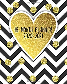 2020-2021 18 Month Planner: Black & White Chevron Organizer with Weekly & Monthly Views - Nifty Leaf Gold Glossy Schedule Agenda with Inspirational Quotes, Vision Boards, Notes & To Do's.