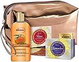 Glamorous Hub StBotanica Bath & Body Combo Gel de ducha Mandarin Cypress (300 ml) + Jabón de rosas y jazmín (125 g) + Jabón de lavanda y vainilla (125 g) con bolsa (el embalaje puede variar)
