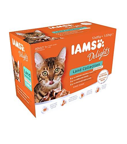 IAMS Delights Land Collection Katzenfutter Nass - Multipack mit Fleisch Sorten (Huhn, Pute, Lamm, Rind) in Sauce, Nassfutter für Katzen ab 1 Jahr, 12 x 85g