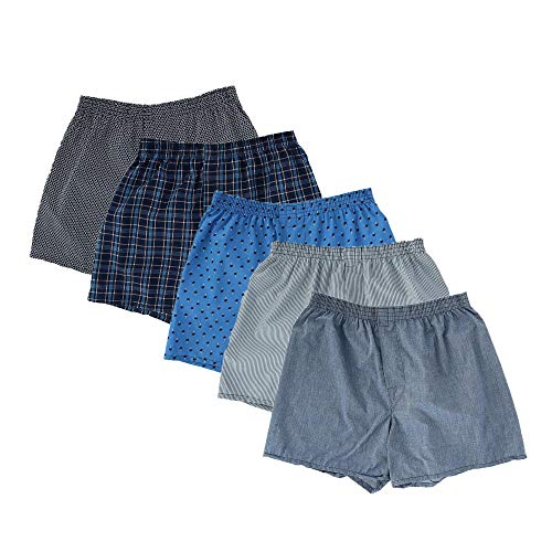 Fruit of the Loom Woven Boxers - 5 Pack (5P582) L/Print/Stripes Assorted