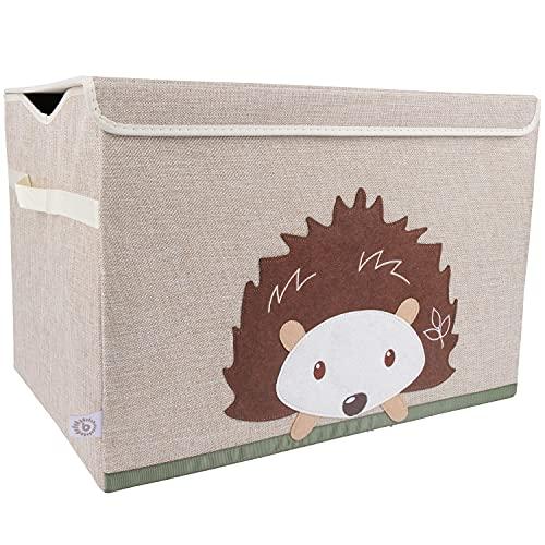 Bieco Aufbewahrungsbox mit Deckel   65L faltbar   ca. 36x36x51cm   Spielzeugkiste mit Deckel   Aufbewahrungsbox Kinder   Kisten mit Deckel   Aufbewahrungsbox Groß   Wickeltisch Organizer   Igel Motiv