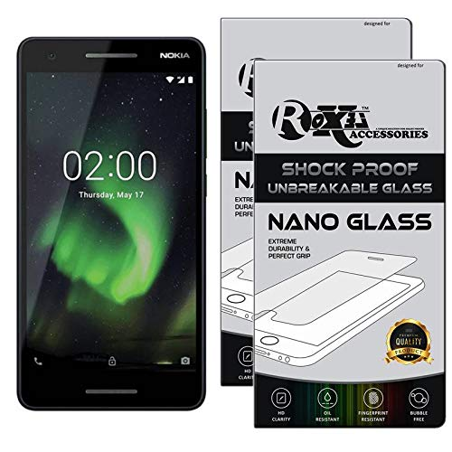 Roxel {Pack of 2} Nokia 2.1 Flexiable Nano Glass Screen Protector with Unbreakable Nano Film Glass [ Better Than Tempered Glass ] Screen Protector for Nokia 2.1 (Blue&Copper, 8 GB) (1 GB RAM)