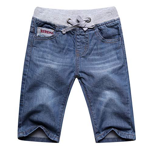 Unsvor Jungen Jeans Shorts Kinder Sommer Kurze Hosen Elastische Taille Kordelzug Baumwolle Knielänge Jeanshose Sommerkleidung Blau 146