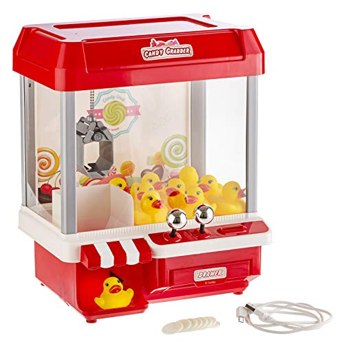 Gadgy ® Candy Grabber con 5 Brani Musicali | Macchina Acchiappa Caramelle | Cavo USB e 10 Anatre Incluso | Regalo Gadget Perfetto