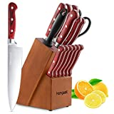 Knife Set, Homgeek 15-Piece Kitchen Knife Set with Block Wooden, Self Sharpening Manual for Chef Knife Set, German X50Cr15 Stainless Steel Knives, Light Brown