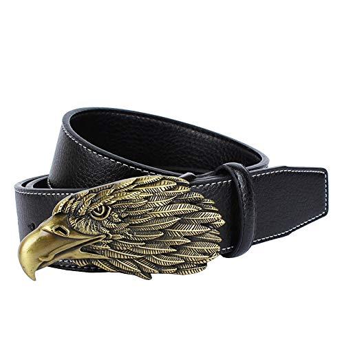 FHCGPD Männer Leder Dornschließe Gürtel Adler Kopf Gürtel Unisex Mode Klassische Retro Wildlänge kann eingestellt Werden 120 cm, schwarz