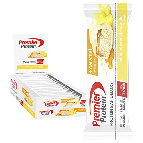 'Premier Protein Bar Deluxe White Chocolate Vanilla 18x50g - High Protein Low Sugar + Reduced Carbohydrate'