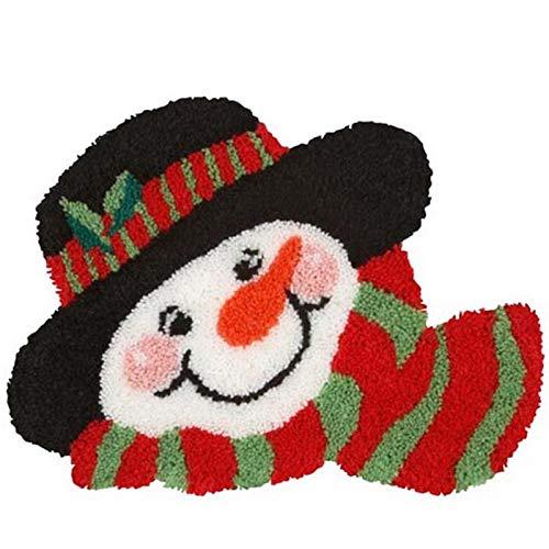 Latch Hook Rug Kits, Christmas Snowman Cushion Crochet Handmade Making Embroidery Craft Kit for Home Decor, 20.5X15 Inch