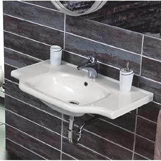 CeraStyle 081000-U-One Hole Yeni Klasik Rectangular Ceramic Wall Mounted/Self Rimming Sink, White