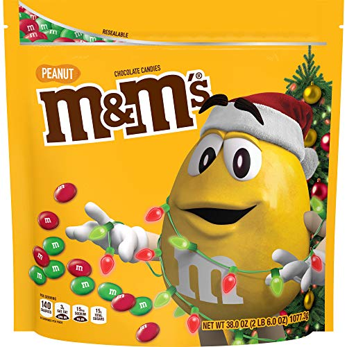 M&MS Holiday Peanut Chocolate Christmas Candy Party Size, 38-Ounce Bag